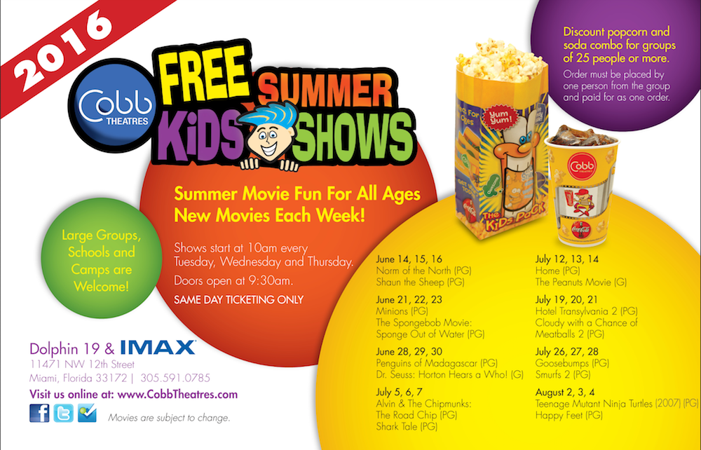 COBB THEATRES DOLPHIN 19 FREE MOVIES