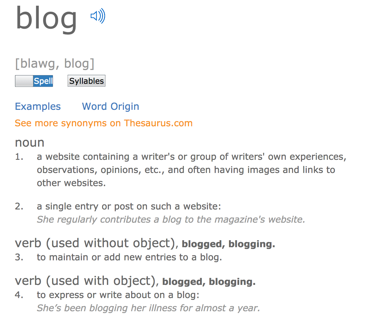 Definition of blog, blogging and blogger