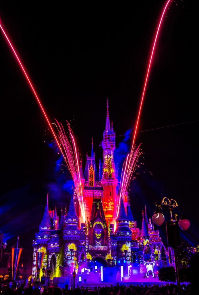 Amazing Castle Projections during Villains Unite the Night at Villains After Hours in Magic Kingdom Park!